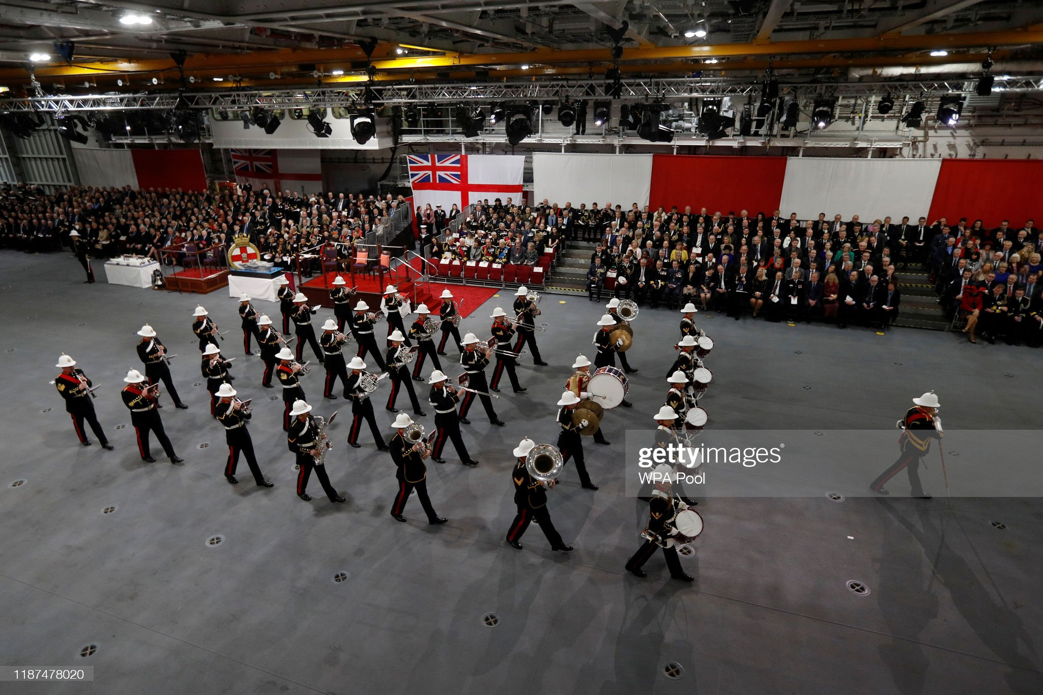 the-band-of-her-majestys-royal-marines-collingwood-perform-before-the-picture-id1187478020