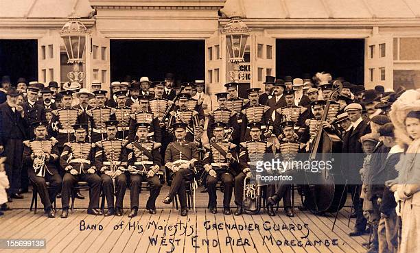 The Band of His Majesty's Grenadier Guards at the West End Pier in Morcambe on the northwest coast of England circa 1906