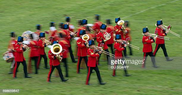 The Band of the Corps of Royal Engineers performs at the Chatsworth Country Fair in the grounds of Chatsworth House, near Bakewell in northern...