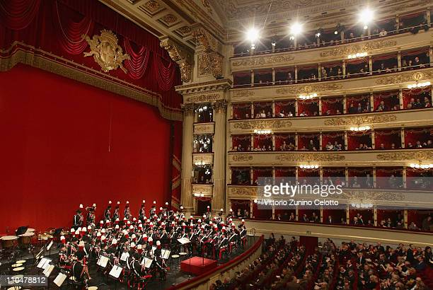 The band of the Italian special police Carabineri perform at the Teatro alla Scala on March 19 2011 in Milan Italy Events in various Italian cities...