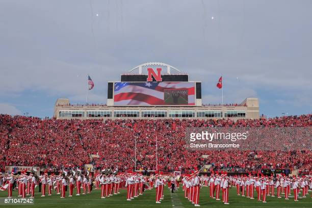 The band of the Nebraska Cornhuskers performs before the game against the Northwestern Wildcats at Memorial Stadium on November 4 2017 in Lincoln...