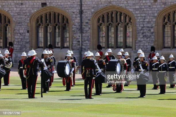 The Band of the Royal Marines during the funeral of Prince Philip, Duke of Edinburgh at Windsor Castle on April 17, 2021 in Windsor, England. Prince...