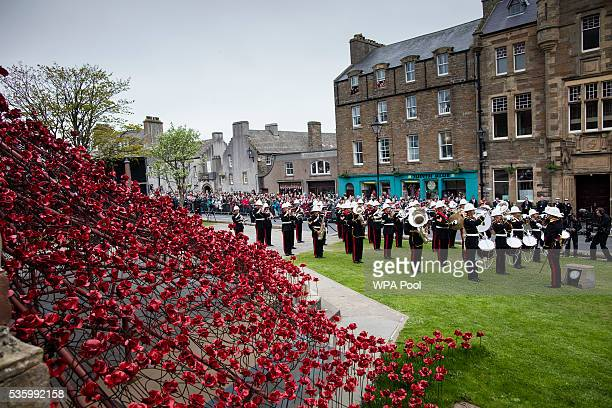 The band of the Royal Marines play at commemorations of the 100th anniversary of the Battle of Jutland at St Magnus Cathedral on May 31 2016 in...