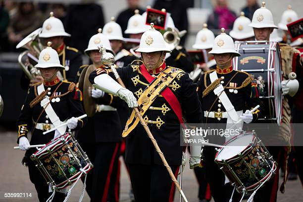 The band of the Royal Marines play at the commemorations of the 100th anniversary of the Battle of Jutland at St Magnus Cathedral on May 31 2016 in...