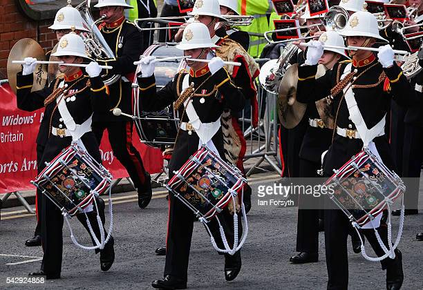 The Band of the Royal Marines take part in the main military parade during the Armed Forces Day National Event on June 25 2016 in Cleethorpes England...