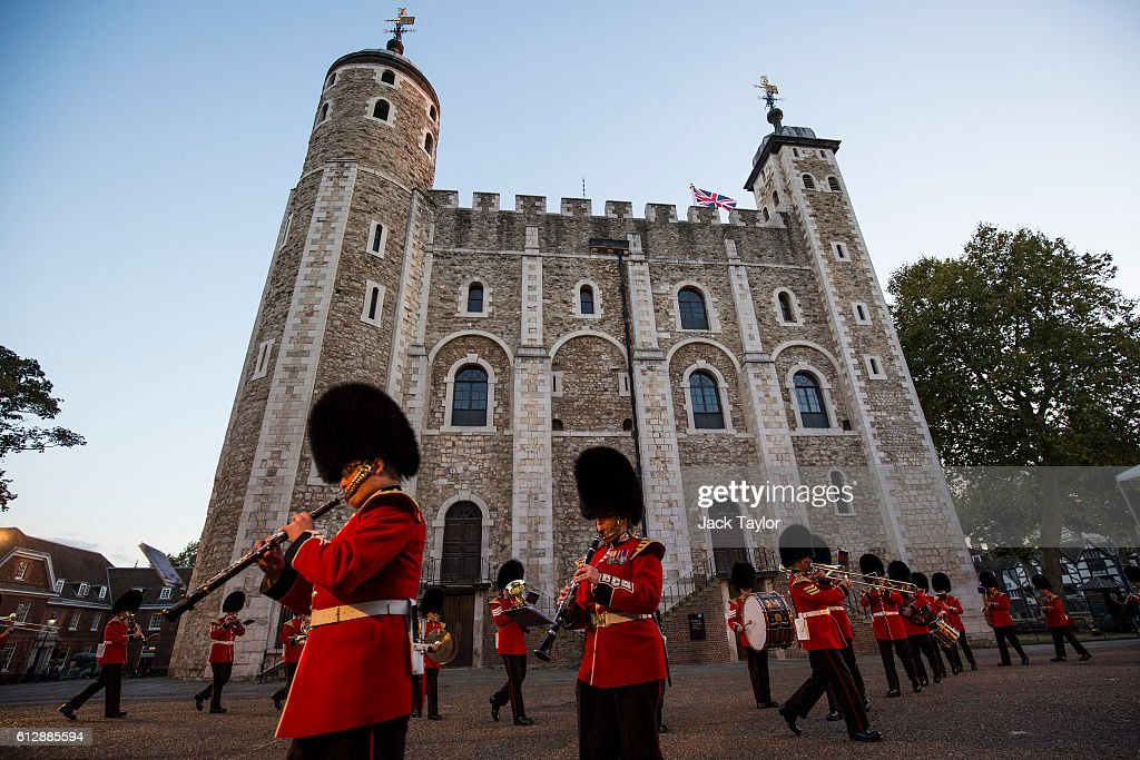 The Band of the Scots Guard parade during the installation of General Sir Nicholas Houghton as the 160th Constable of the Tower of London during a ceremony in front of the White Tower at Tower of London on October 5, 2016 in London, England. The role of Constable, while largely ceremonial, is the most senior appointment at the Tower of London and one of the most ancient offices in England, dating back to around 1078.