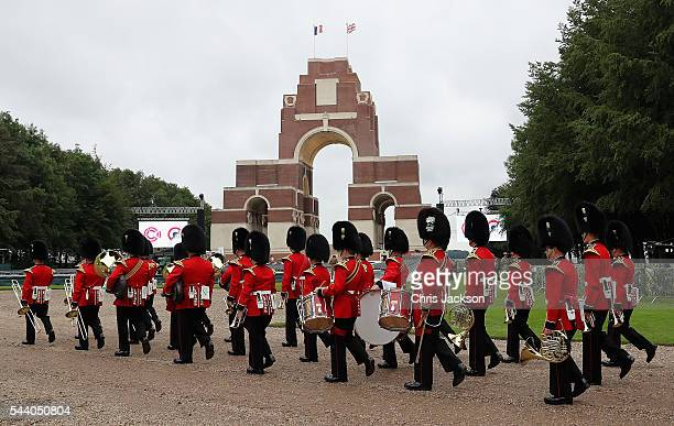 The band of the Welsh Guards arrive at Thiepval Memorial to the Missing of the Somme during Somme Centenary Commemorations on July 1, 2016 in...
