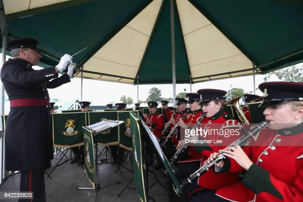 The Band of the Yorkshire Regiment play for the spectators during Day Four of The Land Rover Burghley Horse Trials 2017 on September 2 2017 in...