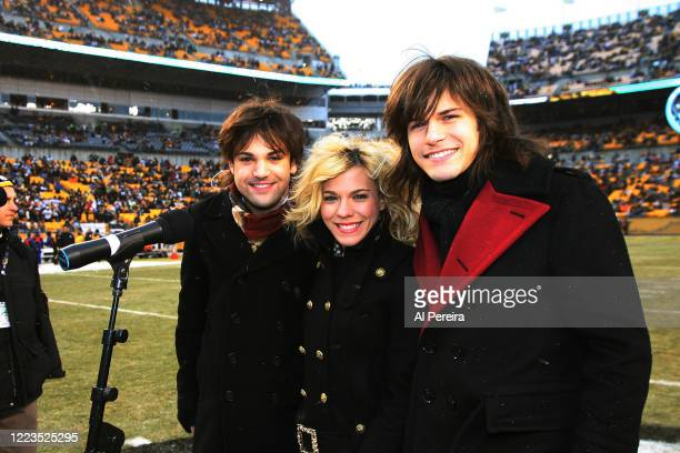 The Band Perry appears in a photo taken before they perform the National Anthem at the New York Jets vs Pittsburgh Steelers game at Heinz Field on...
