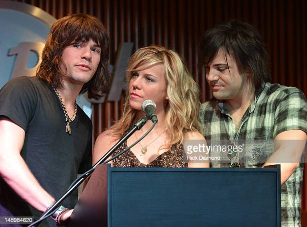 The Band Perry Reid Perry Kimberly Perry and Neil Perry Press Confrence before The Band Perry's first ever The FAN Perry club party at Hard Rock Cafe...