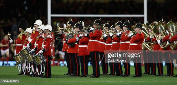 The band play before the rugby union international match between Wales and South Africa at the Principality Stadium on December 2 2017 in Cardiff...