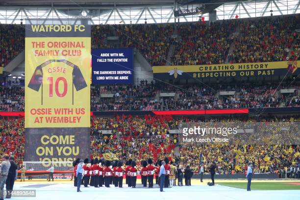the band play the tradional hymn 'Abide with me' prior to the FA Cup Final match between Manchester City and Watford at Wembley Stadium on May 18...