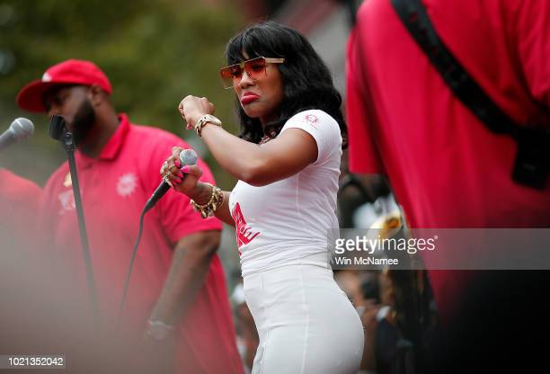 The band Rare Essence performs as Washington DC residents enjoy the 60th birthday block party for area landmark Ben's Chili Bowl August 22 2018 in...