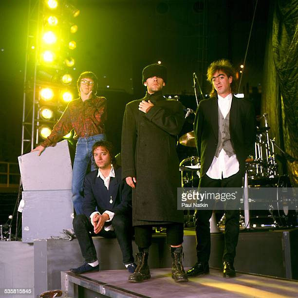 The band REM poses onstage Ames Iowa March 10 1989
