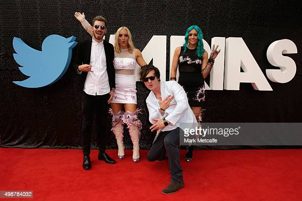 The band Sheppard poses on the red carpet ahead of the 29th Annual ARIA Awards 2015 at The Star on November 26 2015 in Sydney Australia