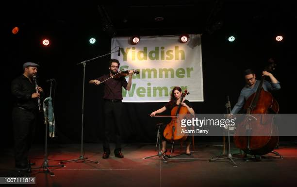 The band Siach HaSadeh performs during a concert at Yiddish Summer Weimar on July 28, 2018 in Weimar, Germany. The annual four-week summer institute...
