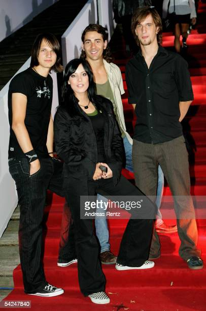 The band Silbermond with lead singer Stefanie Kloss and Thomas Stolle Andreas Nowak and Johannes Stolle attends the German Radio Awards 2005 at the...