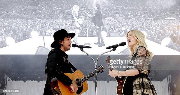 The band The Common Linnets comprising singers Ilse DeLange and Waylon performs during the Tuckerville Festival at the Grolsch Veste in Enschede on...