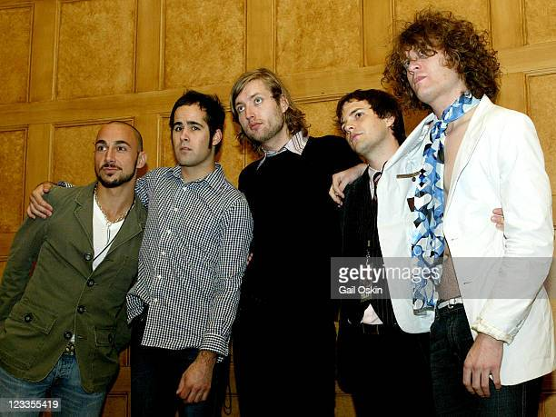 The band The Killers second from left to right drummer Ronnie Vannucci bass player Mark Stoermer vocals and keyboards Brandon Flowers and guitar...