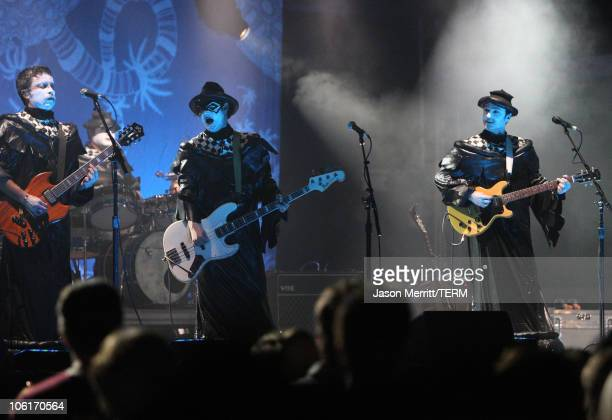 The band 'The Shins' performs during the Vegoose Music Festival 2007 at Sam Boyd Stadium on October 27 2007 in Las Vegas Nevada
