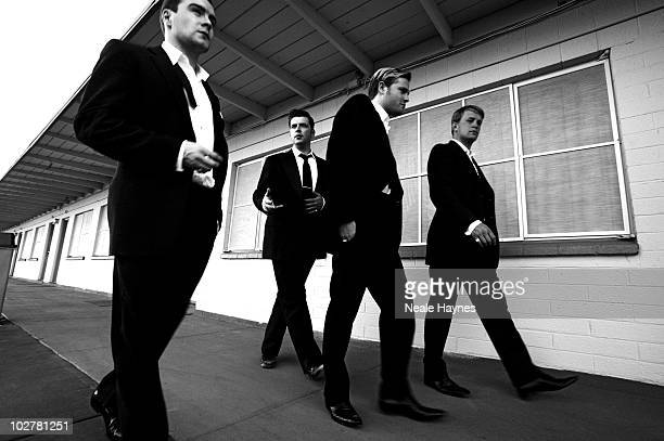 The band Westlife pose for a portrait shoot in London UK