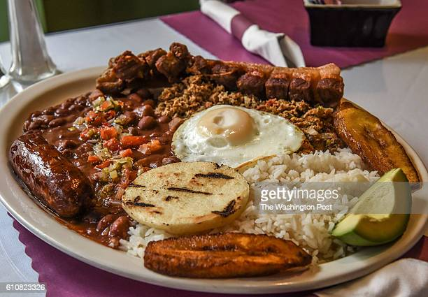 The bandeja paisa at Arepas Pues which combines Colombia Cuban and Venezuelan dishes for the $20 Diner column on September 2016 in Washington DC