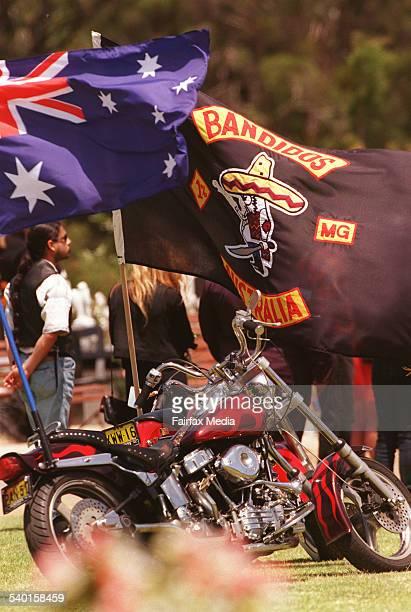 The Bandidos flag flies alongside the Australian flag during the funeral for slain Bandidos member Sasha Milenkovic at Rookwood Cemetery, Sydney, 13...
