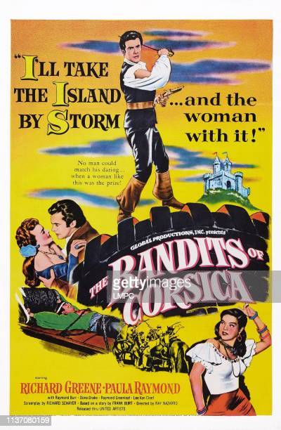 The Bandits Of Corsica poster US poster art center Richard Greene bottom right Dona Drake 1953