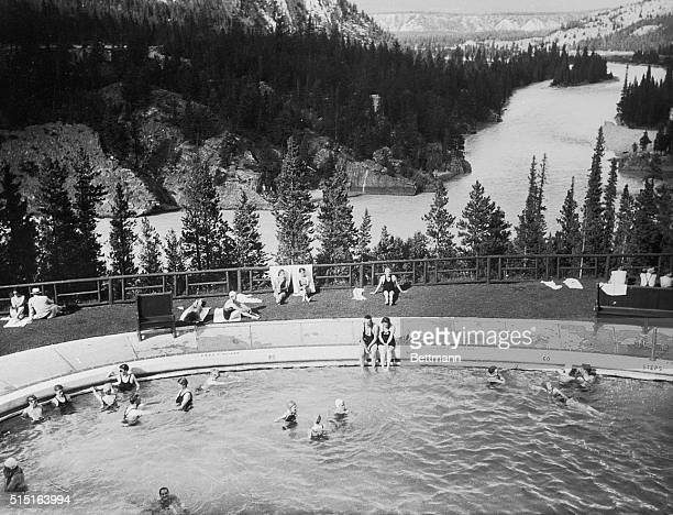 The Banff Springs Hotel swimming pool The hotel is located in the Canadian Rockies