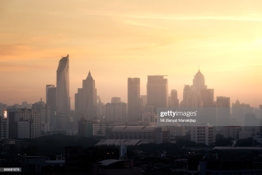 The Bangkok City in early Morning : Stock Photo