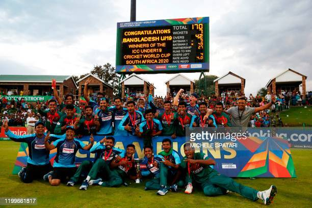 The Bangladesh cricket team pose for a group photograph after winning the ICC Under-19 World Cup cricket finals between India and Bangladesh at the...