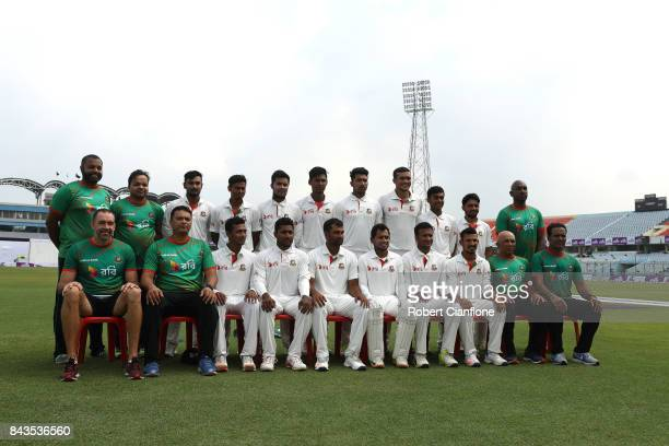 The Bangladesh cricket team pose for a team photo during day four Second Test match between Bangladesh and Australia at Zahur Ahmed Chowdhury Stadium...