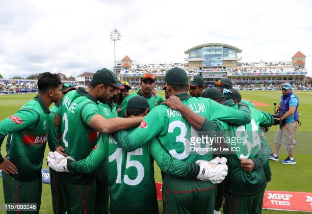 The Bangladesh side hold a pre match huddle during the Group Stage match of the ICC Cricket World Cup 2019 between Australia and Bangladesh at Trent...