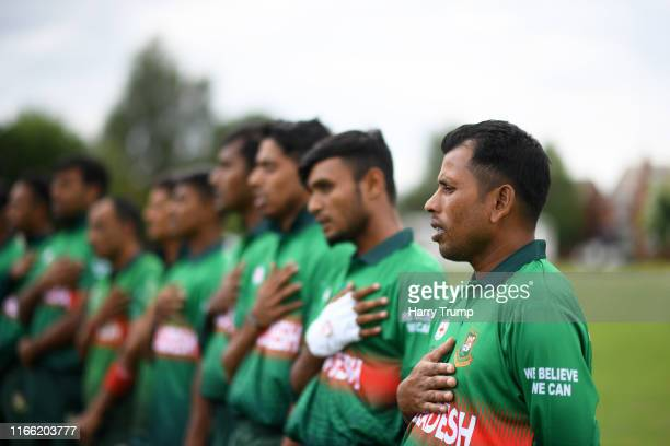 The Bangladesh side line up for the national anthems during the Physical Disability World Series match between Afghanistan and Bangladesh at...