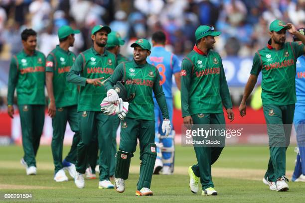 The Bangladesh team look dejected after their nine wicket defeat during the ICC Champions Trophy SemiFinal match between Bangladesh and India at...