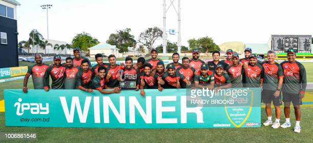 The Bangladesh team pose for a photo at the end of the 3rd and final ODI match between the West Indies and Bangladesh at Warner Park Basseterre St...