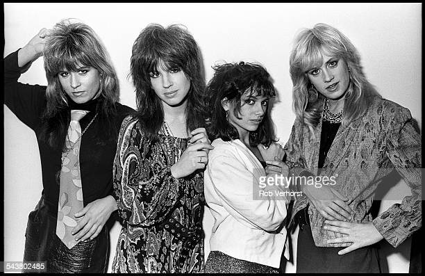 The Bangles group portrait Het Paard The Hague Netherlands 23rd February 1986 LR Vicki Peterson Michael Steele Susanna Hoffs Debbi Peterson
