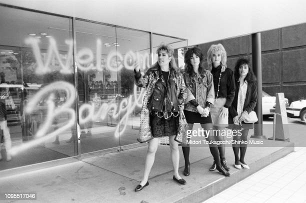 The Bangles interview and photo session for MUSIC LIFE magazine Tokyo Japan June 1986 LR Vicki Peterson Michael Steele Debbi Peterson Susanna Hoffs