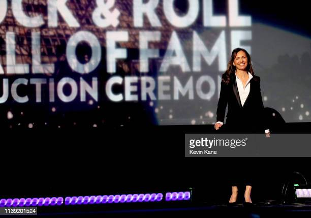 The Bangles' Susanna Hoffs speaks onstage during the 2019 Rock Roll Hall Of Fame Induction Ceremony Show at Barclays Center on March 29 2019 in New...