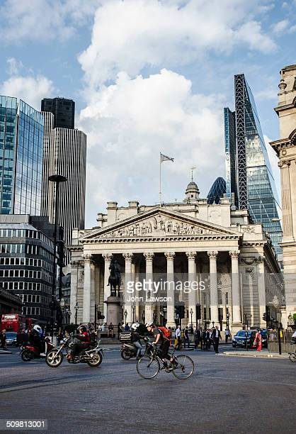 The Bank crossroads in London England UK In the centre of the image is the Royal Exchange Building the former stock Exchange In the background right...