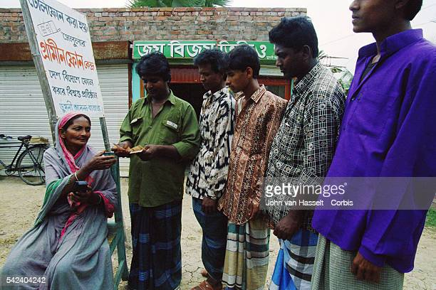 The bank finances a project providing each village with a phone The microcredit program was created by the founder and directorof the Grameen Bank...