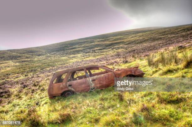 the bank job - abandoned car stock photos and pictures