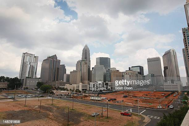 The Bank of America Corporate Center building which houses the corporate headquarters for Bank of America rises above the Charlotte skyline on July...