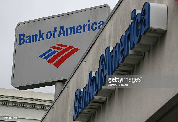 The Bank of America logo is displayed on the side of a Bank of America branch office January 20 2010 in San Francisco California Bank of America...