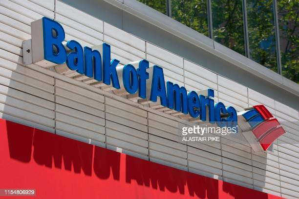 The Bank of America logo is seen outside a branch in Washington DC on July 9 2019