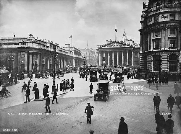 The Bank of England and Royal Exchange on Threadneedle Street in the City of London circa 1895