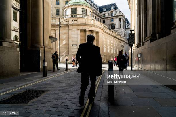 The Bank of England as viewed looking down Throgmorton Street in The City of London UK