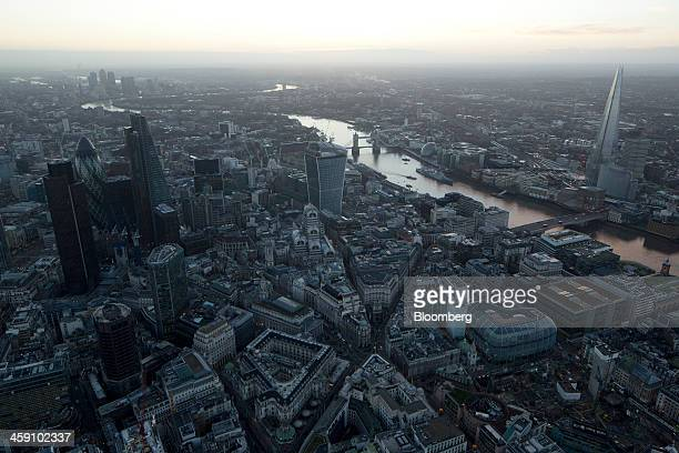 The Bank of England bottom center left stands near skyscrapers including Tower 42 the Leadenhall building also known as the 'Cheesegrater' 30 St Mary...