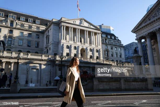The Bank of England in the City of London, U.K., on Thursday, Aug. 5, 2021. The Bank of England may move a step closer to tightening monetary policy,...