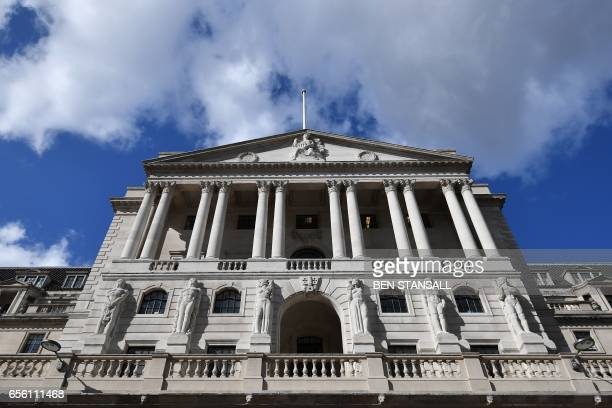 The Bank of England is seen in the City of London on March 21 2017 British annual inflation jumped in February to the highest level in almost three...